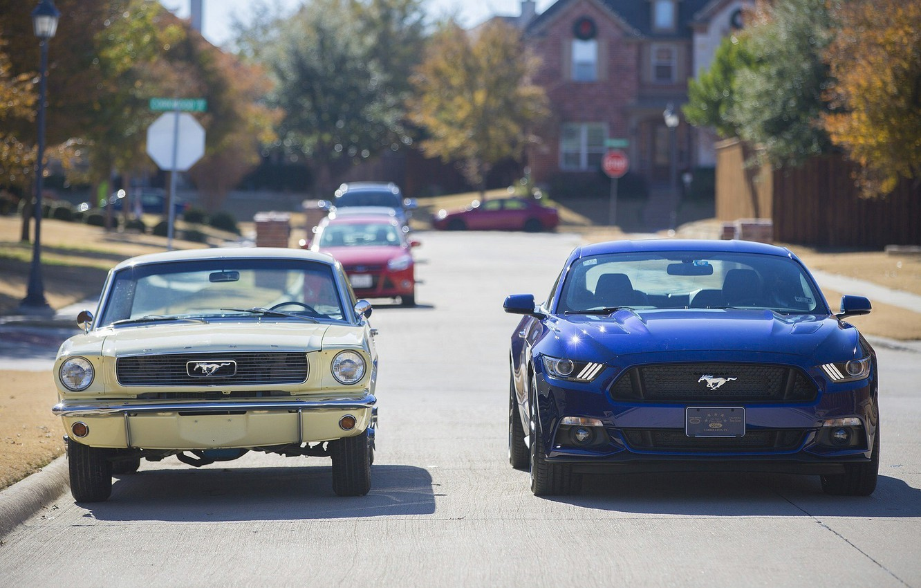 Photo wallpaper road, street, Ford, mustang