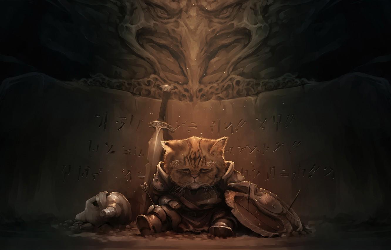 Photo wallpaper sadness, cat, dark, sword, art, helmet, adventure, Skyrim
