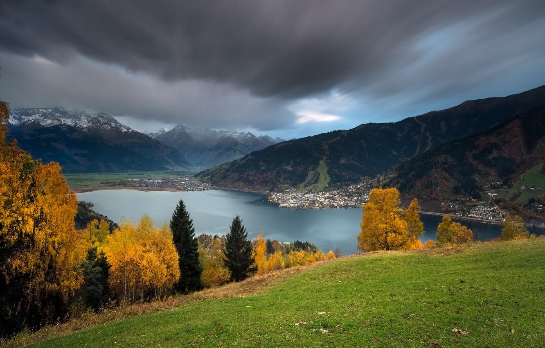 Photo wallpaper autumn, mountains, lake, Austria