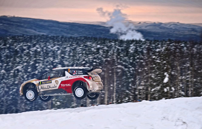 Photo wallpaper Winter, Auto, Snow, Forest, Sport, Machine, Citroen, Citroen, DS3, WRC, Rally, Rally, Sebastien Loeb, In …