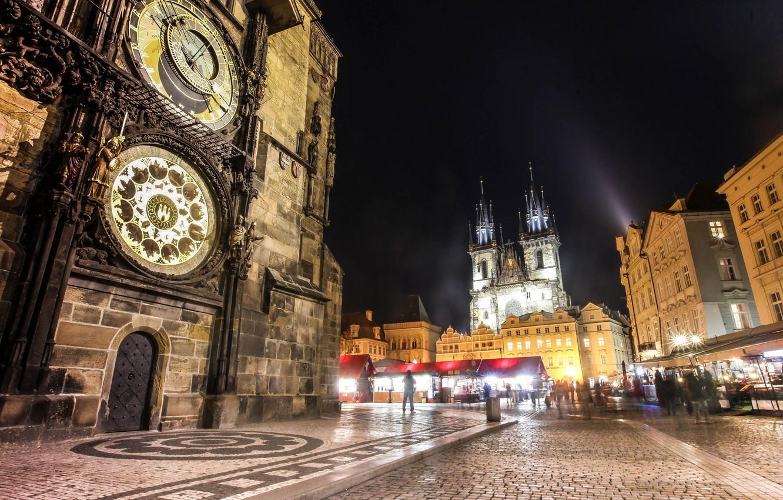 Photo wallpaper night, the city, people, watch, building, Prague, Czech Republic, lighting, architecture, Prague, The Czech Republic, …