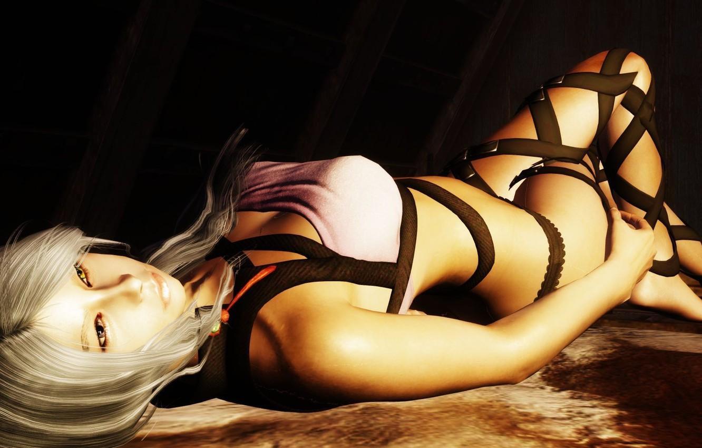Photo wallpaper girl, blonde, lies, yellow eyes, The Elder Scrolls V Skyrim