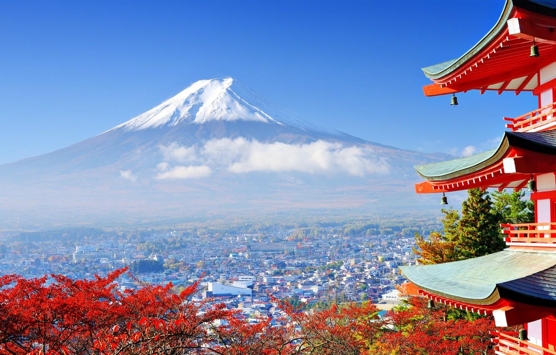 Photo wallpaper autumn, the city, mountain, Japan, valley, Fuji