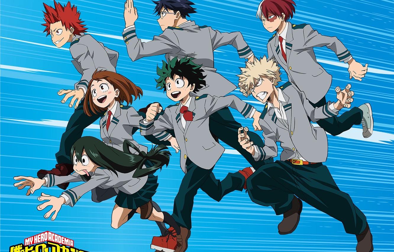 Wallpaper Anime Blue Background Characters Boku No Hero