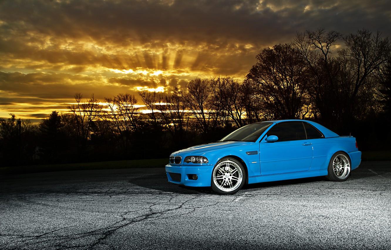 Photo wallpaper the sky, sunset, blue, bmw, BMW, sunset, blue