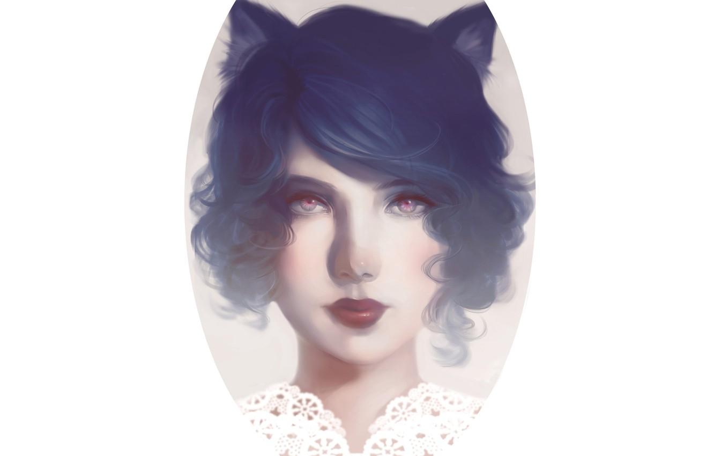 Photo wallpaper Girl, collar, white background, ears