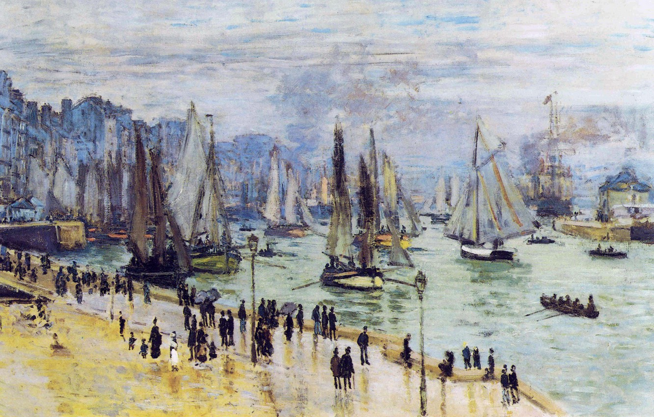 Photo wallpaper people, picture, sail, promenade, seascape, Claude Monet, Fishing Boats Leave The Harbor. Le Havre