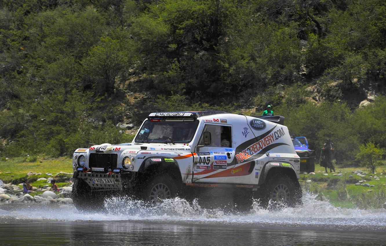 Photo wallpaper Water, Auto, White, Sport, Squirt, Land Rover, Rally, Dakar, SUV, Defender, 445