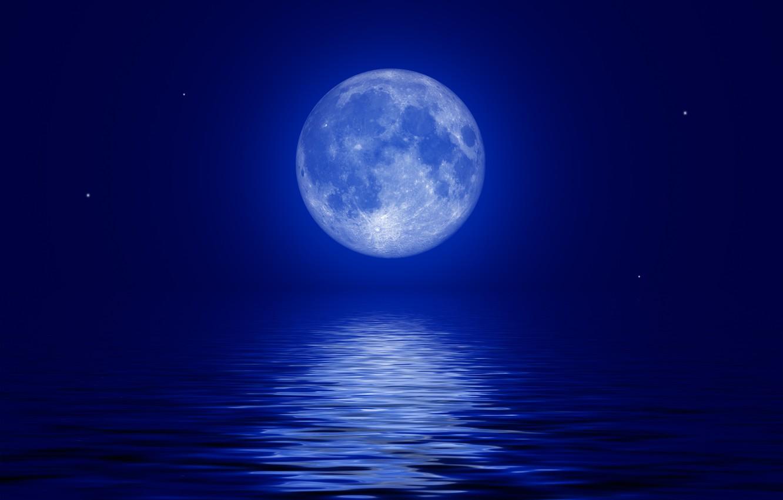 Photo wallpaper sea, the sky, stars, night, the moon