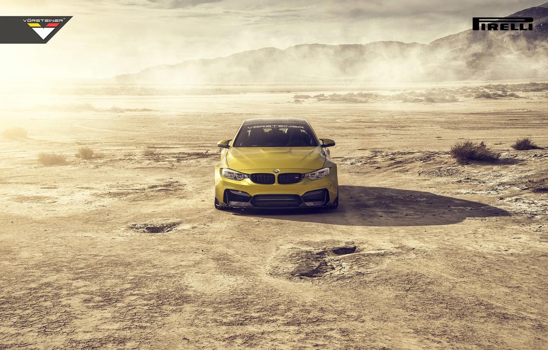 Photo wallpaper BMW, Car, Front, Vorsteiner, Yellow, Pirelli, Wheels, Desert, 2015, Skid, GTRS4