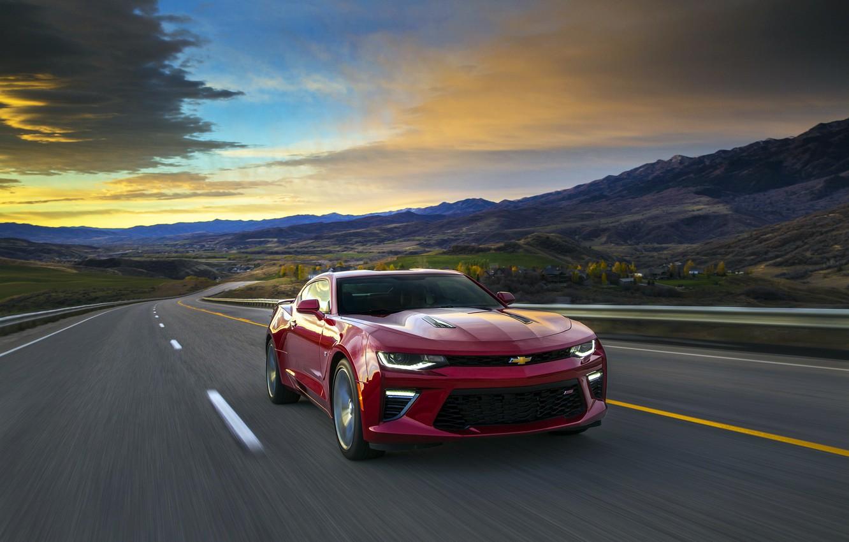 Photo wallpaper sunset, red, sunrise, speed, Chevrolet, camaro, chevrolet, Camaro
