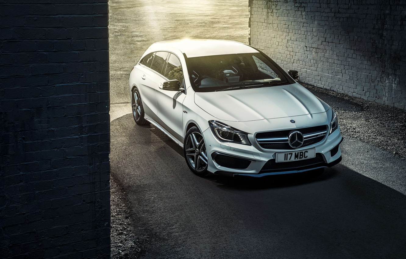 Photo wallpaper Mercedes, Mercedes, AMG, AMG, UK-spec, Shooting Brake, CLA 45, 2015, X117