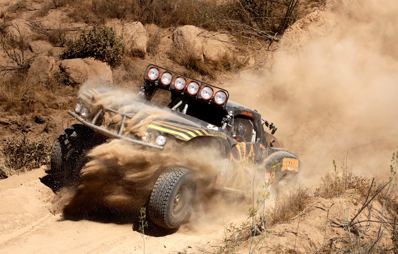 Photo wallpaper Sand, Auto, Dust, Desert, Stones, Mexico, Race, CA, Jeep, Mexico, California, Chevy, SUV, Rally, Truck, …