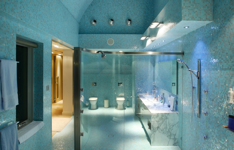 Photo wallpaper style, tile, interior, lighting, shower, bathroom, towels