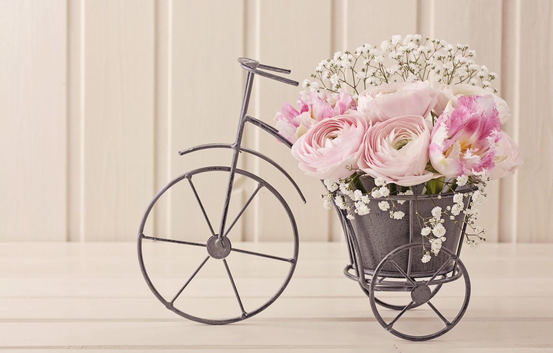 Photo wallpaper bike, bouquet, tulips, composition, Ranunculus