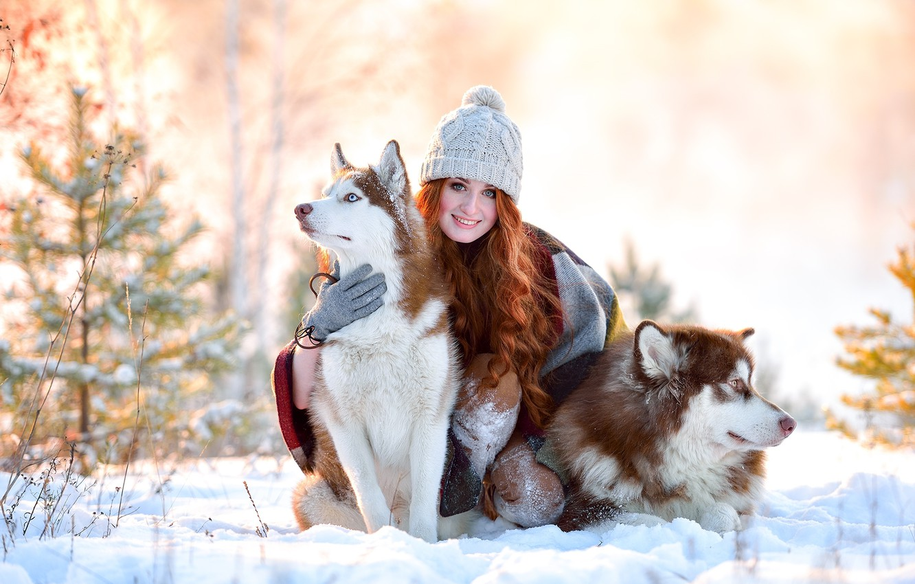 Photo wallpaper winter, dogs, girl, snow, joy, smile, hat, red, husky
