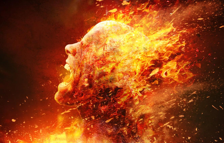 Photo wallpaper head, fire, death, flesh