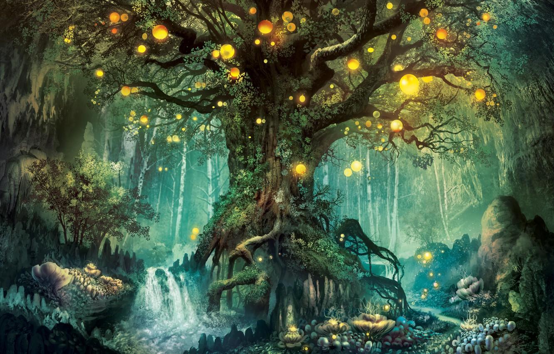 Photo wallpaper Trees, Forest, Fantasy, Fantasy World