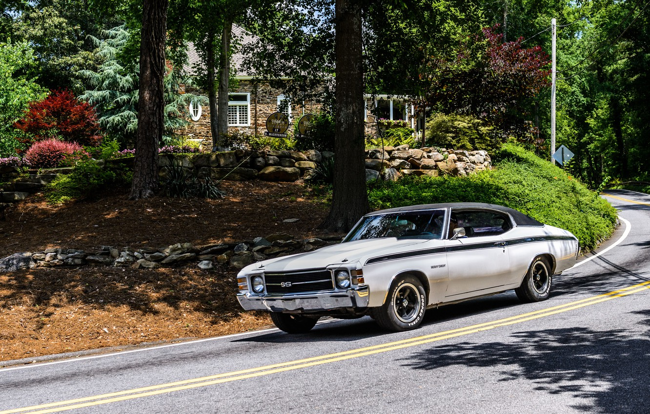 Photo wallpaper road, car, machine, forest, house, tree, sport, Chevrolet, Chevrolet, old, sport, USA, USA, house, white, …