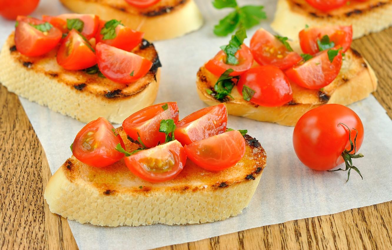 Photo wallpaper bread, sandwich, tomatoes, baguette, tomatoes, napkin, cherry