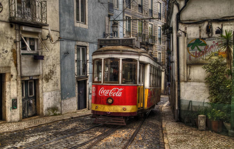Photo wallpaper building, tram, track, Portugal, Coca-Cola, Lisbon, city