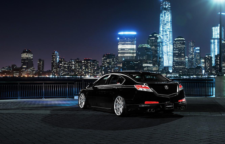 Photo wallpaper car, night, the city, tuning, Honda, acura tl, Acura
