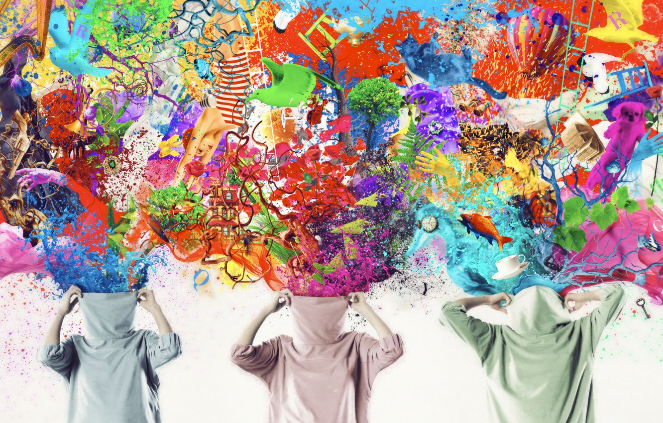 Photo wallpaper trees, fish, butterfly, squirt, birds, branches, balloon, creative, fantasy, paint, brightness, imagination