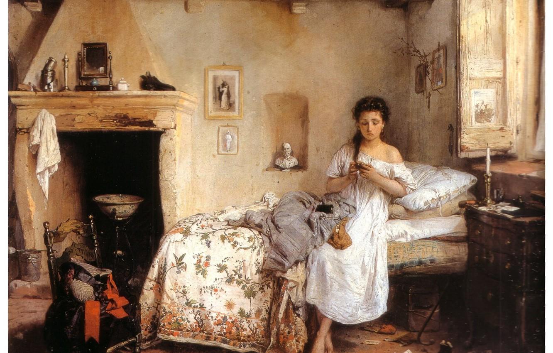 Photo wallpaper Bed, Wallpaper, Chair, White Dress, Window, Fireplace, Sad Woman