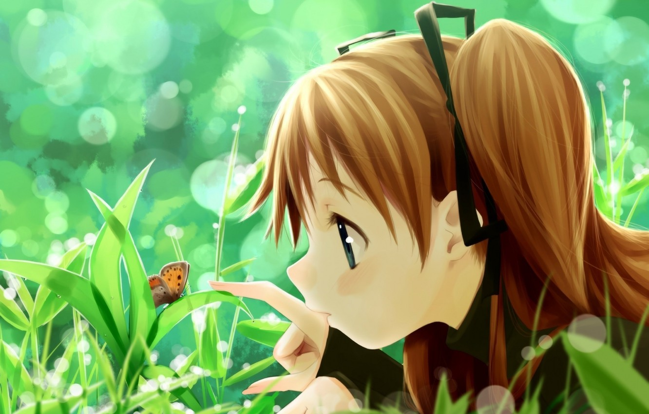 Photo wallpaper summer, grass, butterfly, girl, Art