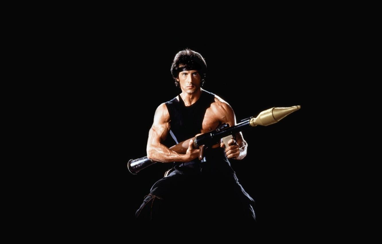 Photo wallpaper black background, rocket launcher, Sylvester Stallone, Bazooka, Sylvester Stallone, Rambo, Rambo