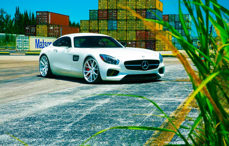Photo wallpaper Mercedes-Benz, Front, AMG, Color, White, Vossen, Wheels, 2015, GT S
