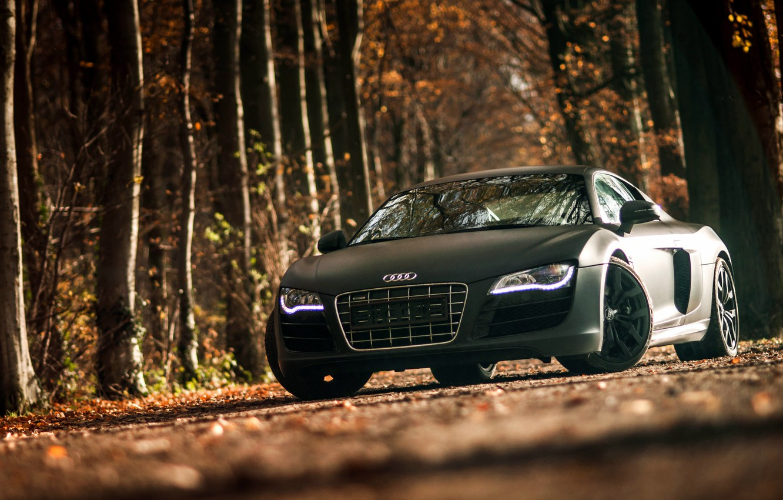 Photo wallpaper Audi, Audi, sports car, black, front, V10