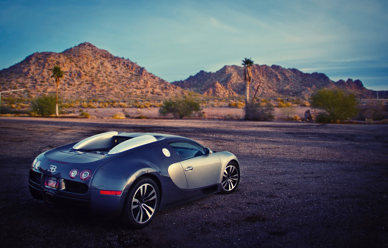 Photo wallpaper mountains, hills, Bugatti, Veyron