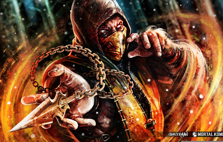 Photo wallpaper Ghost, Mortal Kombat, Scorpion, Ninja, Shinobi, Fan art, Mortal Kombat X, Mortal Kombat 10, Kunai, …