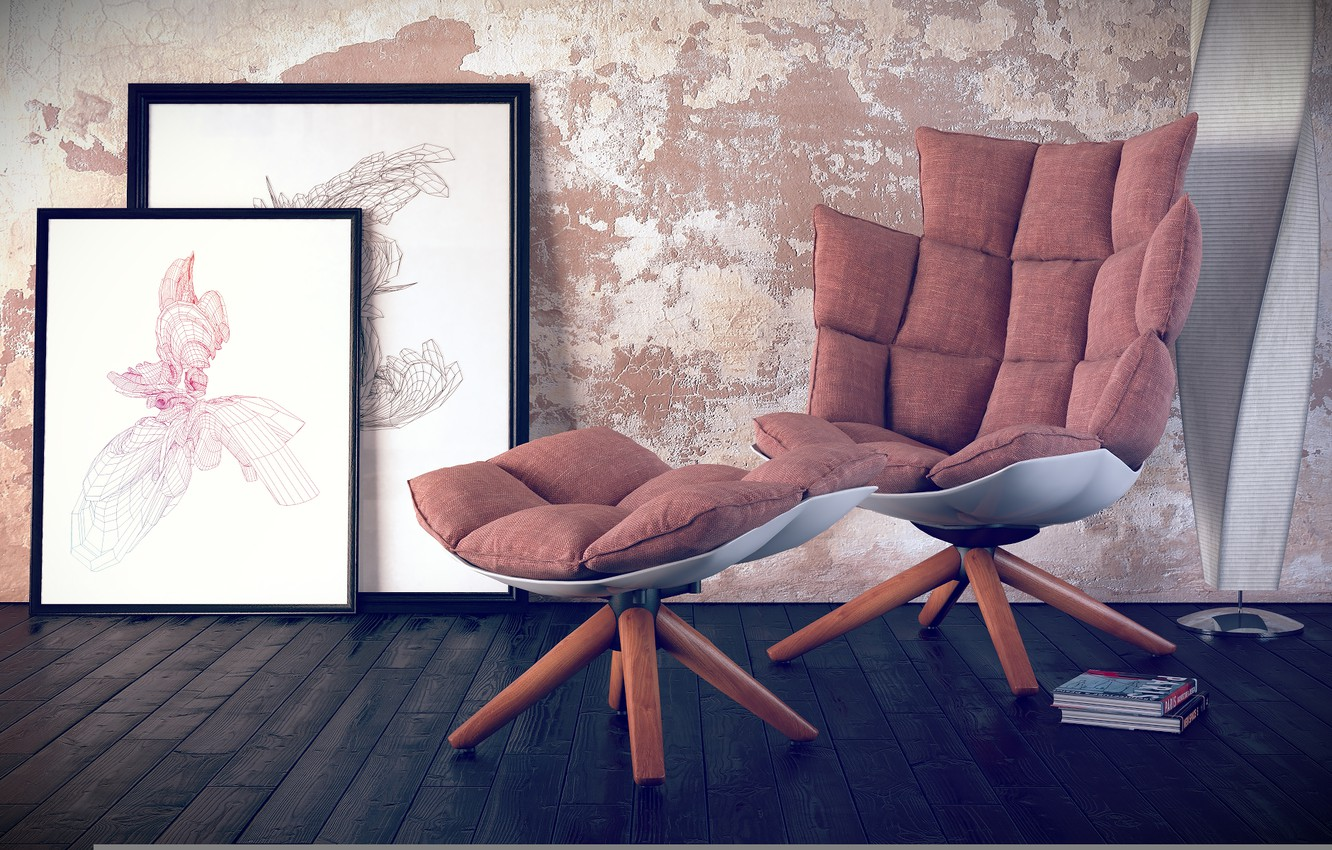 Photo wallpaper books, lamp, chair, pillow, pictures, outdoor