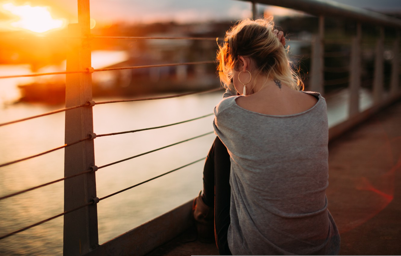 Photo wallpaper girl, sunset, back, tattoo, sitting