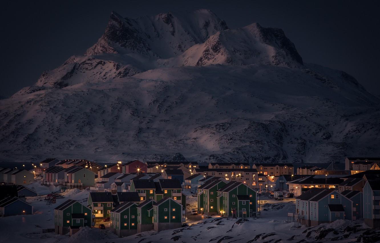 Photo wallpaper winter, snow, mountains, night, lights, lake, home, Greenland, Nuuk