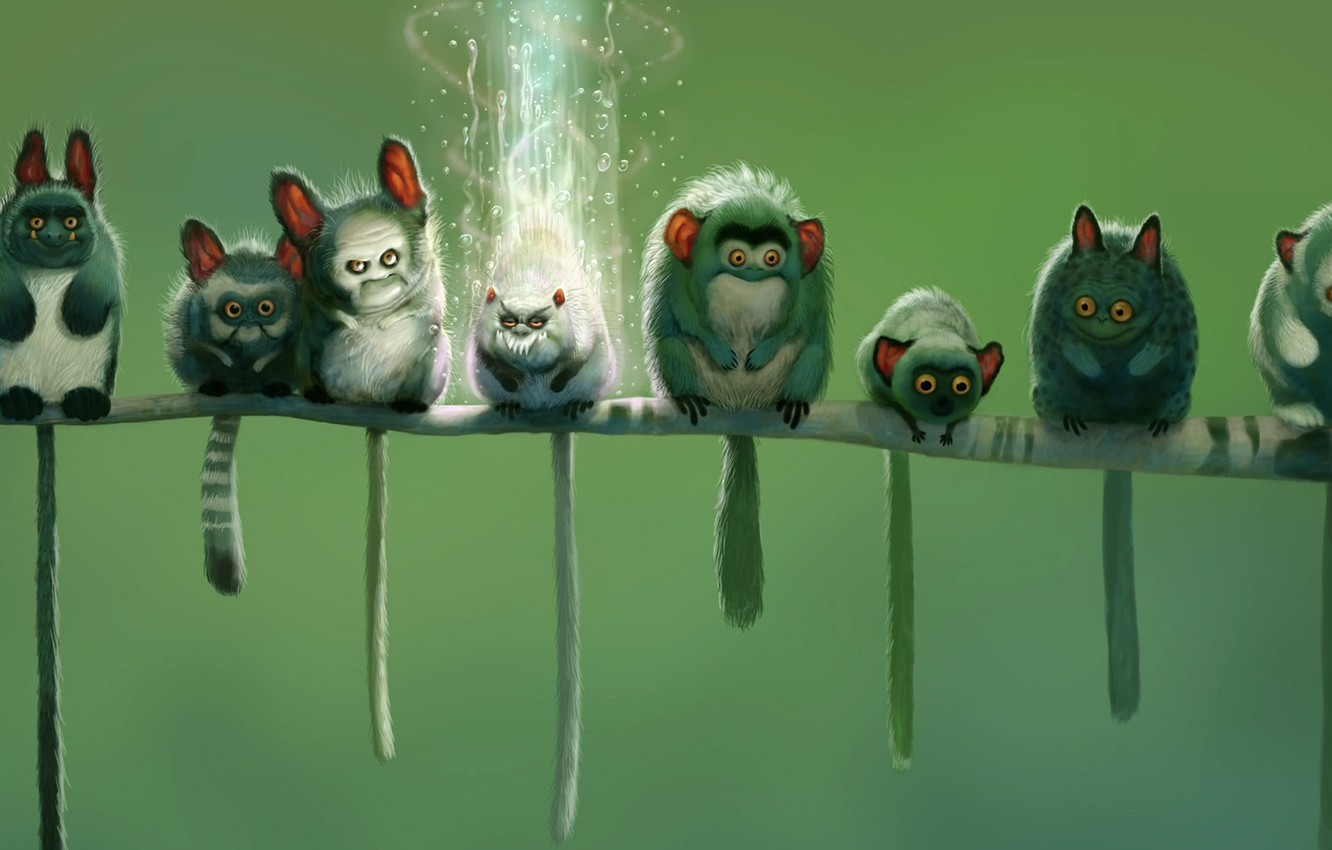 Photo wallpaper green, tail, monsters