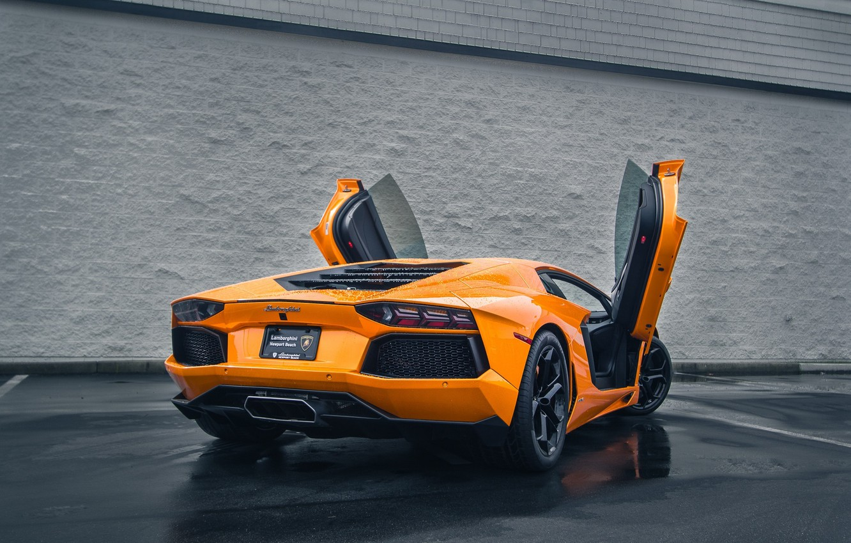 Photo wallpaper Lamborghini, Auto, Rain, LP700-4, Aventador, Wet, Rear, Asphalt, Doors