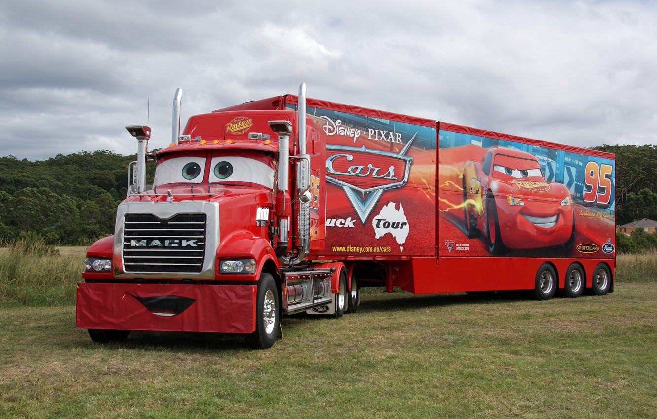Photo wallpaper red, pixar, truck, cars, truck, mack, trailer, tractor
