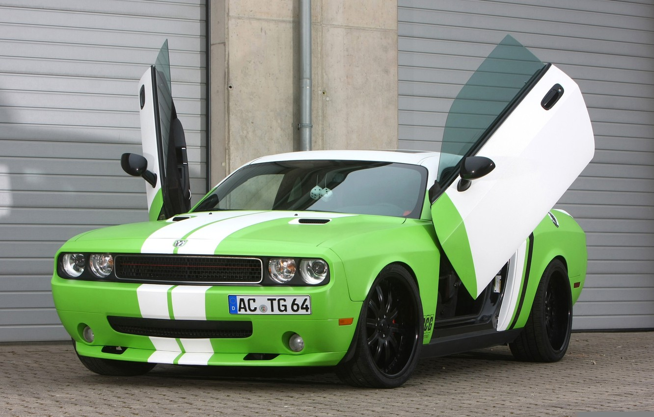 Photo wallpaper tuning, door, Dodge, green, Dodge, Challenger, rear view, tuning, Muscle car, chelenzher, Muscle car, Wrapped, …