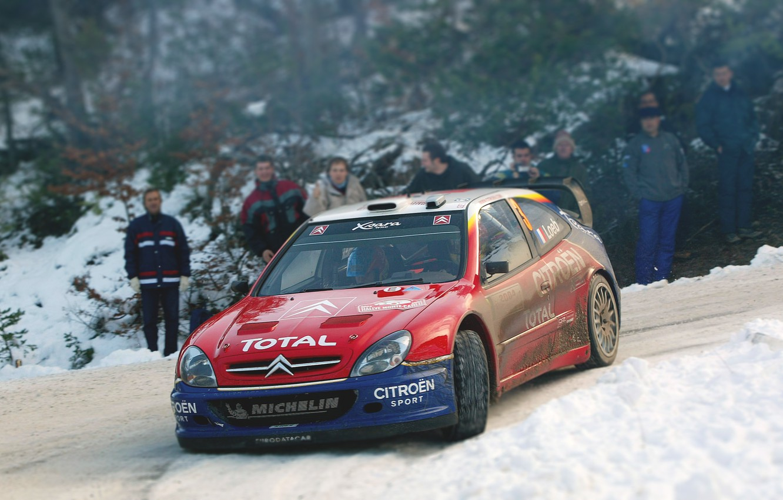Photo wallpaper Red, Winter, Auto, Snow, Sport, Machine, Turn, Race, Citroen, WRC, Rally, Rally, Xsara