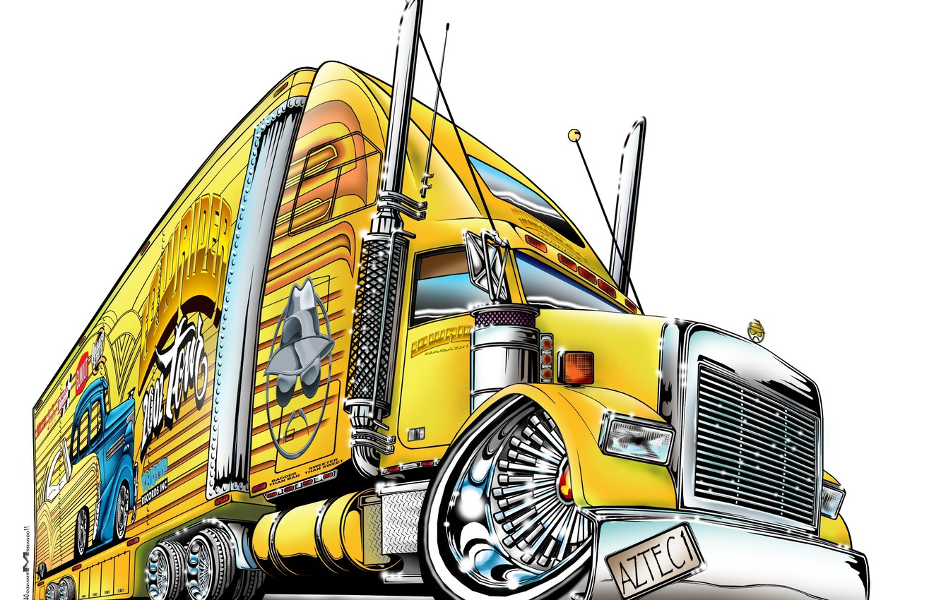 Photo wallpaper drawing, truck, white background, golo lowrider 2002