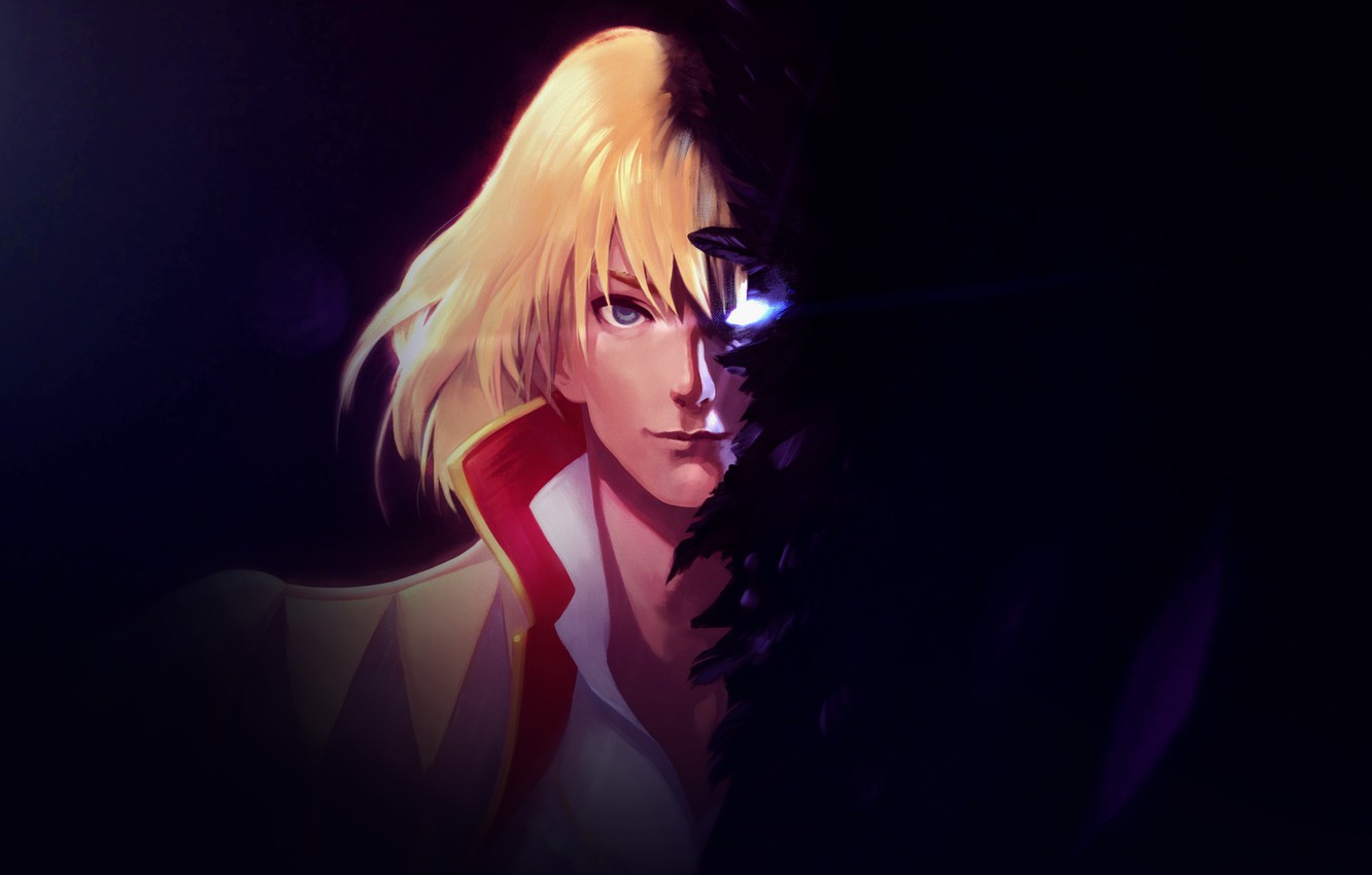 Photo wallpaper eyes, the dark background, feathers, guy, Howl's moving castle, Howl's Moving Castle, Howl