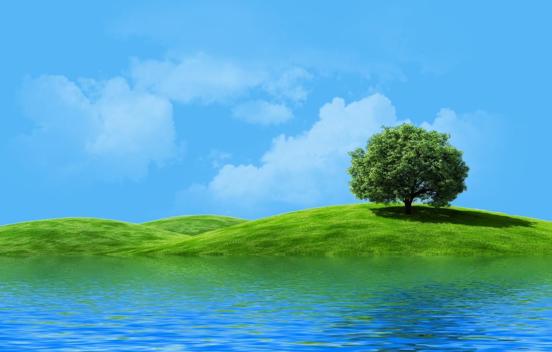 Photo wallpaper the sky, river, tree