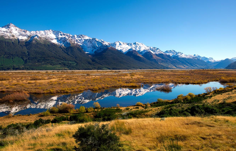 Photo wallpaper mountains, nature, river, New Zealand, New Zealand