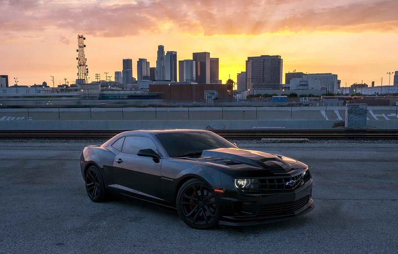 Photo wallpaper sunset, black, Chevrolet, black, chevrolet, camaro ss, Camaro