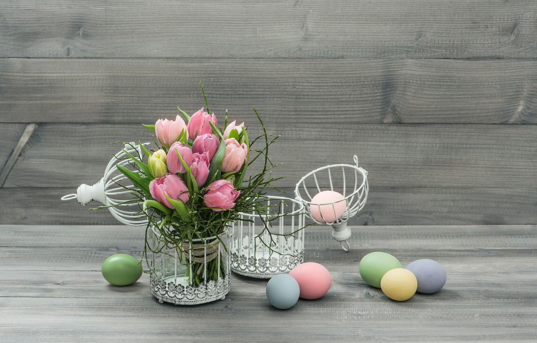 Photo wallpaper flowers, eggs, Easter, tulips, Easter eggs