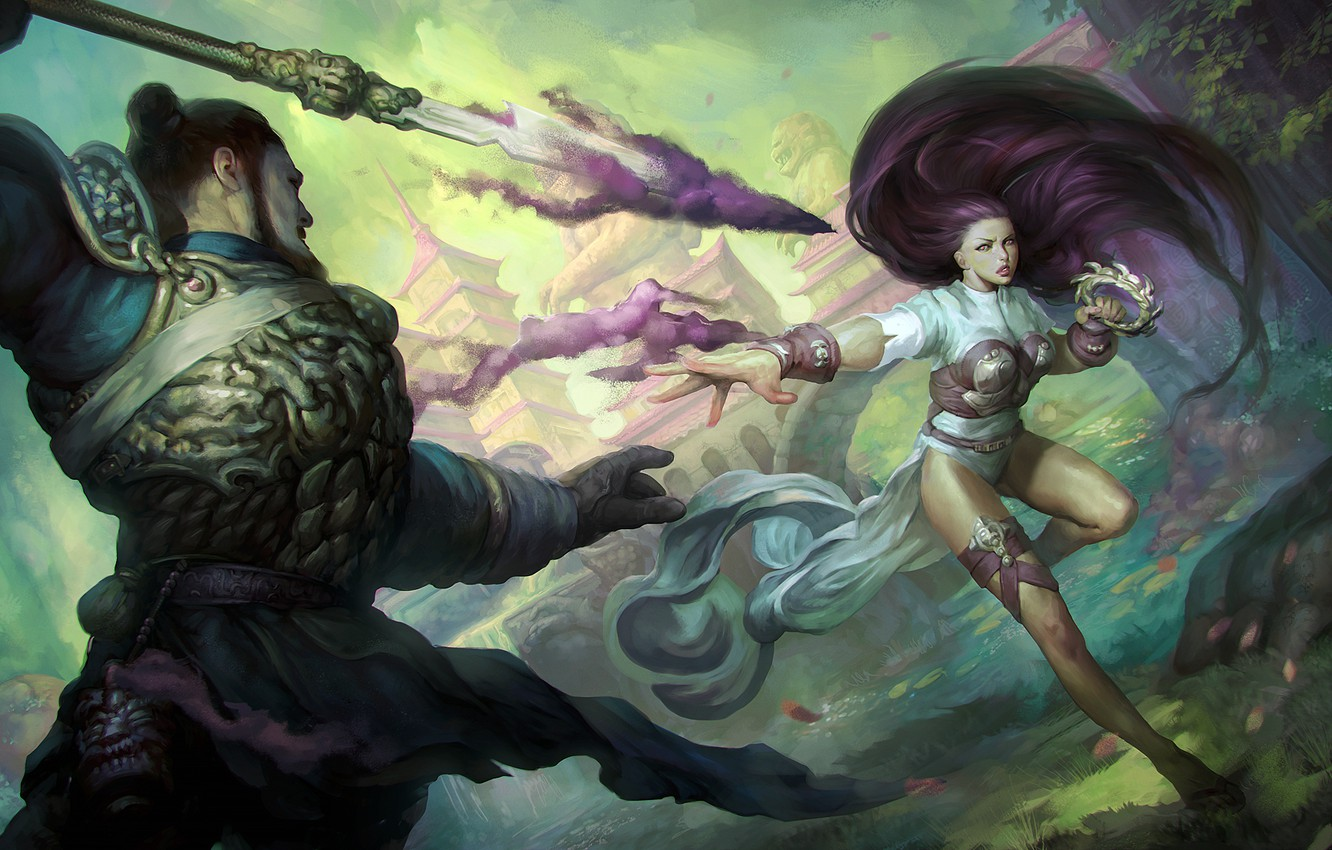 Wallpaper Girl Magic Art Male Spear Magic The Gathering