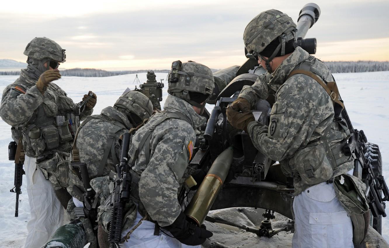 Photo wallpaper 105mm, U.S. Army Alaska, artillerymen